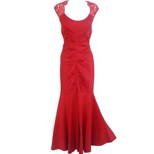 Red Hot Gown Body Con Lace Flare Peplum Stretch XL